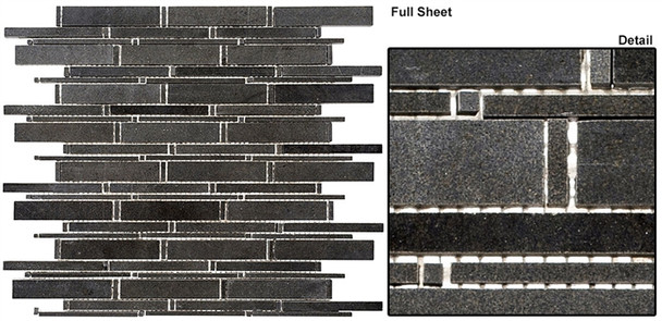 Cascade - CS90 Basalt - Random Brick Stick Linear Natural Stone Mosaic Tile