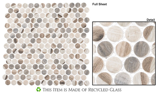 Pixels - PX-784 Dotted Blend - Penny Round Recycled Glass Mosaic