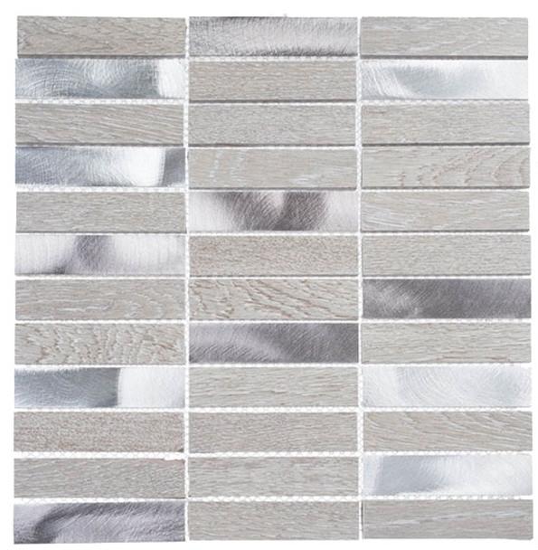 Maison De Luxe Series - MDX-2703 Decadent Star - Brick Shape Porcelain Wood & Metal Mosaic Tile - Stacked