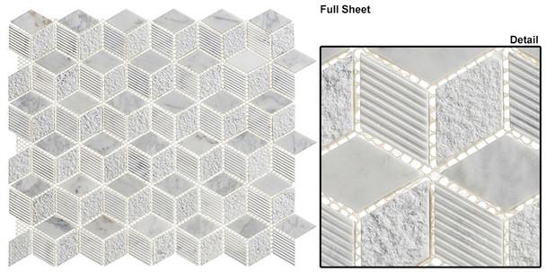 Arctic - ARS-81 Siberian Heron - Textured & Pattern Natural Stone Mosaic Tile - Sample
