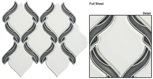 Lumiere - LMR-8501 Orion Noir - Arabesque Pattern Crackle & Solid Mix Glaze Porcelain Decorative Mosaic Tile
