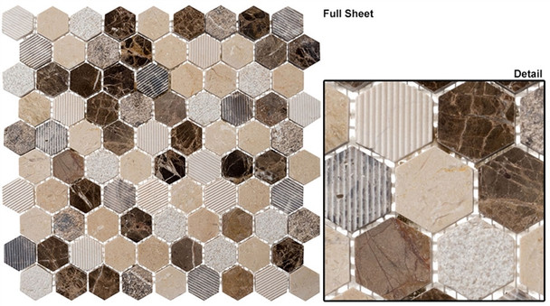 "Excalibur - EHEX-151 Dream Gallery - 1-1/4"" Hexagon Marble Stone Mosaic"