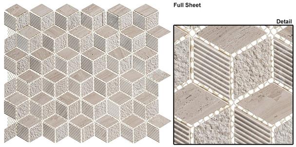 Arctic - ARS-82 Frozen Lake - Textured & Pattern Natural Stone Mosaic Tile - Sample