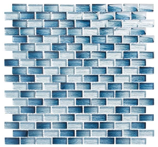 Metro - MTR-3341 Antoinette Blue- 5/8 X 1-1/4 Mini Brick Subway Mix Foil Glass Tile Mosaic