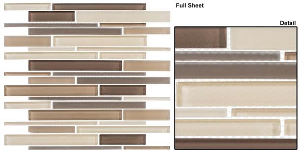 Cane - CN31 Creek Bed - Random Brick Linear Glass Tile Mosaic