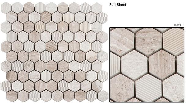 "Excalibur - EHEX-152 Winter Fjord - 1-1/4"" Hexagon Marble Stone Mosaic"