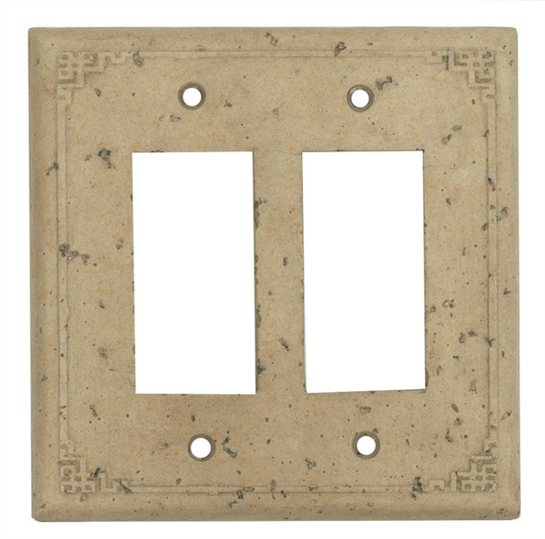 Resin Travertine Faux Stone Wall Switch Plate Outlet Cover - Double Rocker GFCI - Geometric - Dark Travertine Color - $6.99