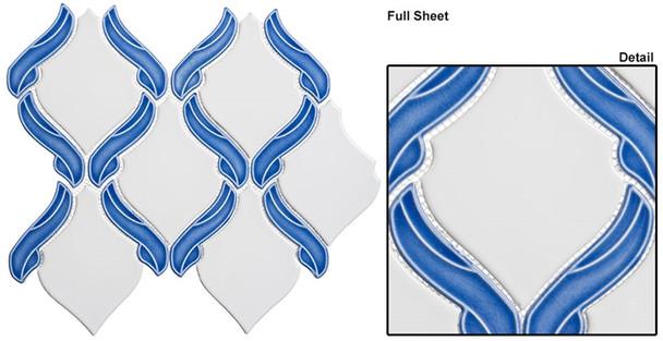 Lumiere - LMR-8502 French Lake - Arabesque Pattern Crackle & Solid Mix Glaze Porcelain Decorative Mosaic Tile - Sample