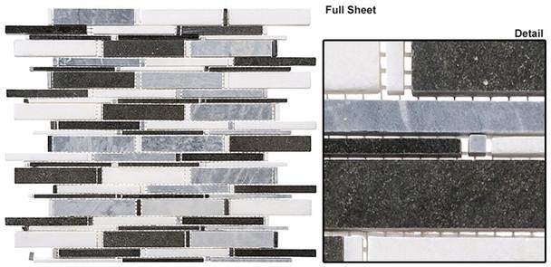 Cascade - CS93 Mugworth + Thassos White + Basalt Mix - Random Brick Stick Linear Natural Stone Mosaic Tile