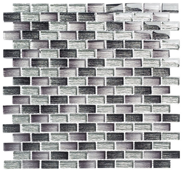 Metro - MTR-3342 Lucas Midnight- 5/8 X 1-1/4 Mini Brick Subway Mix Foil Glass Tile Mosaic