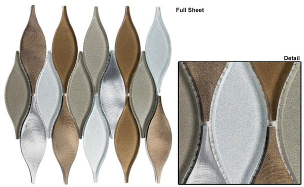 Chandelier - CHS-212 Summer Sandcastle - Flame Shape Glass & Metal Mosaic Tile