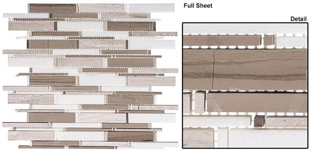 Cascade - CS94 Wooden White + Athen Gray + Thassos Mix - Random Brick Stick Linear Natural Stone Mosaic Tile
