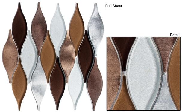 Chandelier - CHS-213 Rustic Ivy - Flame Shape Glass & Metal Mosaic Tile