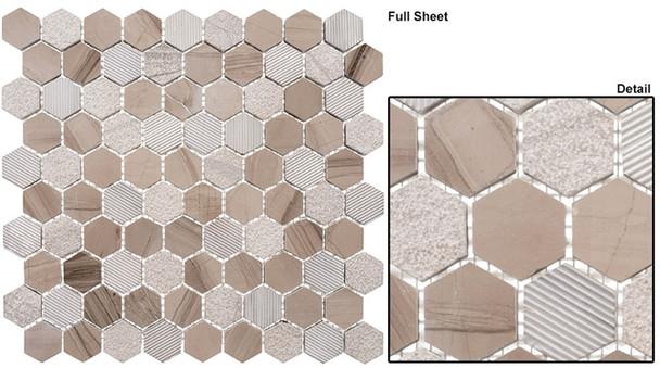 """Excalibur - EHEX-154 Smokey Tan - 1-1/4"""" Hexagon Marble Stone Mosaic"""