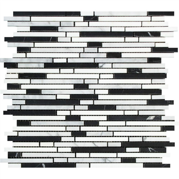 Carrara White Marble - Bamboo Sticks Mix #1 - 5/16 X Random Length Mini Brick Strip Mosaic - POLISHED