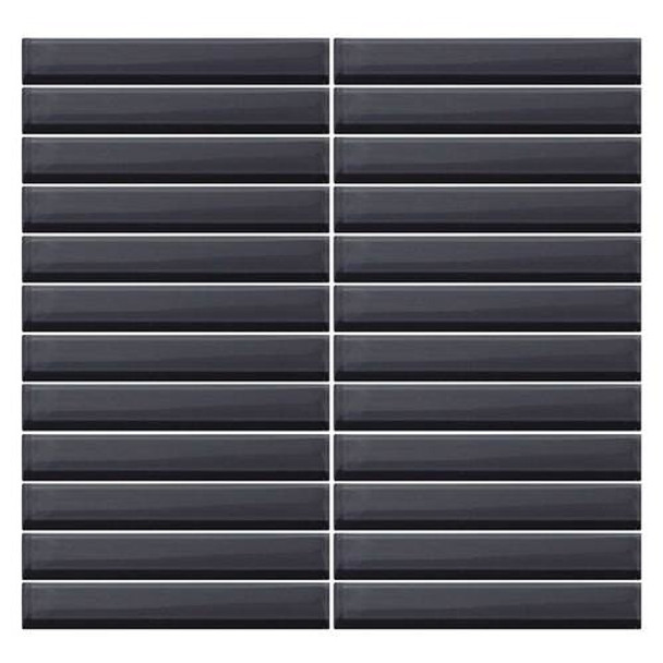 Supplier: Daltile, Series: Color Wave, Name: CW19 Nine Iron - Glossy, Color: White, Category: Glass Tile, Size: 1 X 6