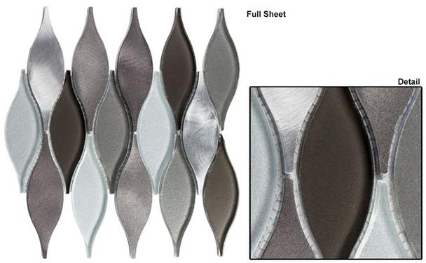 Chandelier - CHS-214 Velvet Truffle - Flame Shape Glass & Metal Mosaic Tile
