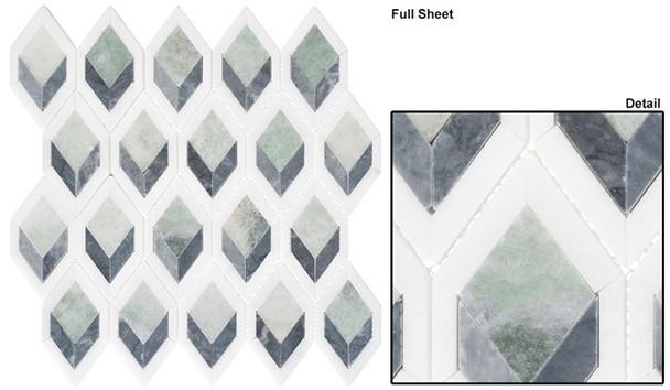 Ashbury - AHR-432 Cornflower Way - Diamond Shape Pattern Marble Stone Mosaic