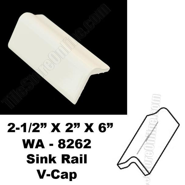 Daltile V Cap - 0135 Almond - WA8262 Sink Rail VCap - Counter Top Edge Trim Tile