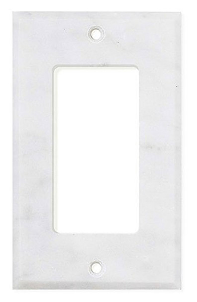 White Bianco Carrara Marble Switch Plate Wall Outlet Cover - Single Rocker GFCI - Honed - $19.99