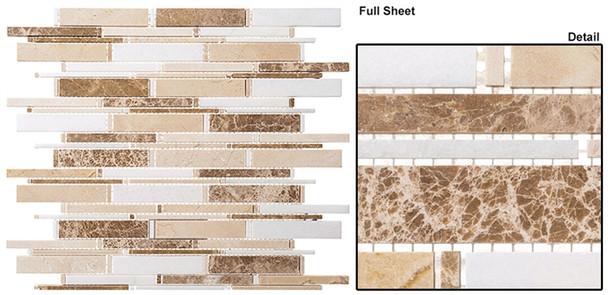 Cascade - CS96 Crema Marfil + Thassos White + Emperador Lig - Random Brick Stick Linear Natural Stone Mosaic Tile - Sample
