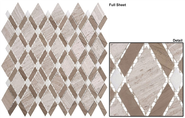 Diamond - DS-55 Wooden White Athens Gray - Diamond Pattern Marble Stone Mosaic Tile