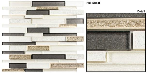 Bella Muro - BMS-241 Sutton Frost - Random Brick Linear Crackle Jewel Glass Mosaic Tile