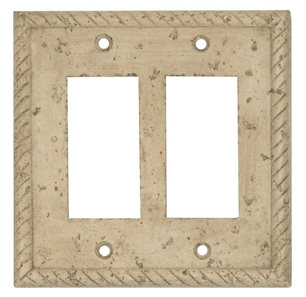 Resin Travertine Faux Stone Wall Switch Plate Outlet Cover - Double Rocker GFCI - Rope - Dark Travertine Color - $6.99