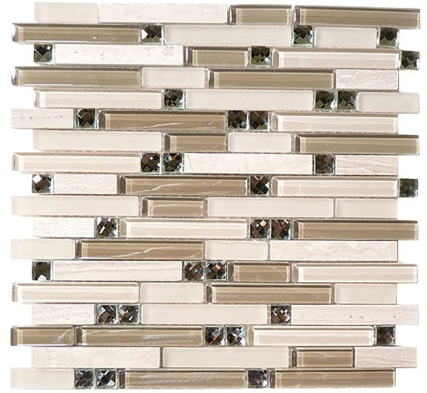 Supplier: Tile Store Online, Name: SPS-1505, Color: Grey Tranquility,Type: 5/8 X Random Brick Linear Glass & Stone Mosaic Tile, Size: 12X12