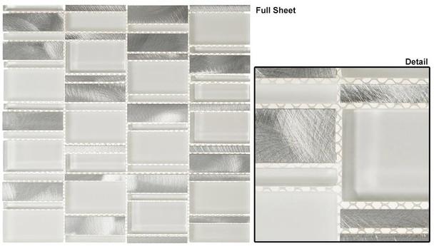 Corrugated Scape - CSS-121 Arctic Plateau - Multi Size Offset Glass, Natural Stone, & Metal Mosaic Tile