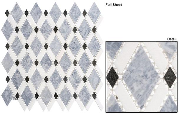 Diamond - DS-57 Mugworth Thassos White - Diamond Pattern Marble Stone Mosaic Tile - Sample
