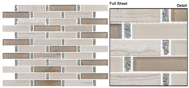 Interlace - INT-252 Milestone - 7/8 X 3-7/8 Brick Linear Glass & Natural Stone Mosaic Tile