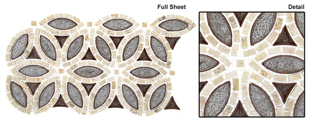 Tranquil Flower - TS-961 Roman Bloom - Crackle Jewel Glass & Natural Stone Mosaic Tile