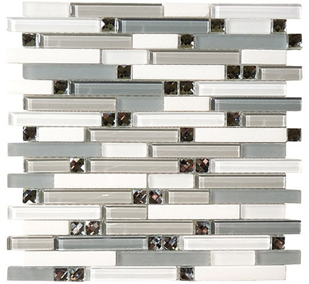 Supplier: Tile Store Online, Name: SPS-1507, Color: Restful Afternoon,Type: 5/8 X Random Brick Linear Glass & Stone Mosaic Tile, Size: 12X12