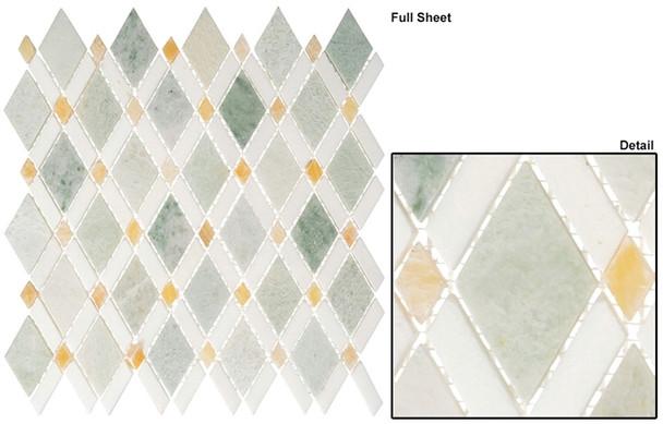 Diamond - DS-58 Ming Green Light Thassos White - Diamond Pattern Marble Stone Mosaic Tile