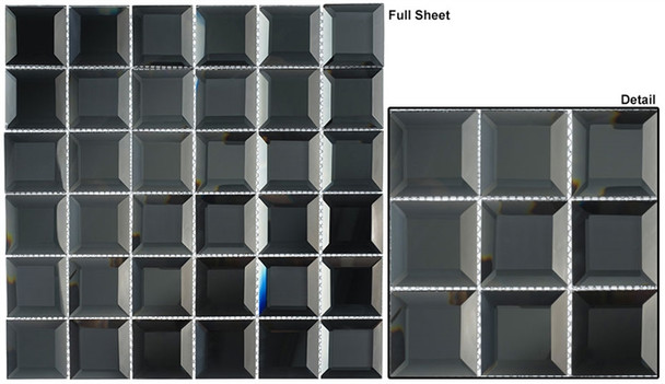 Checkers CKR-112 Hematite Squares - 2 X 2 Beveled Mirror Glass Mosaic Tile