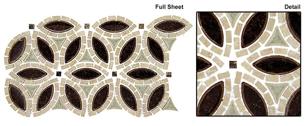 Tranquil Flower - TS-962 Ancient Market - Crackle Jewel Glass & Natural Stone Mosaic Tile