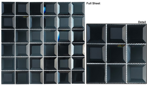 Checkers CKR-113 Blue Hemisphere - 2 X 2 Beveled Mirror Glass Mosaic Tile
