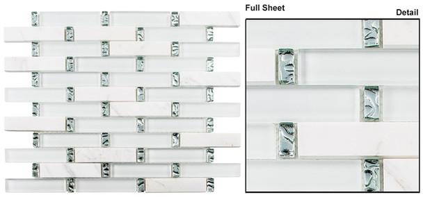 Interlace - INT-254 Ice Basket - 7/8 X 3-7/8 Brick Linear Glass & Natural Stone Mosaic Tile
