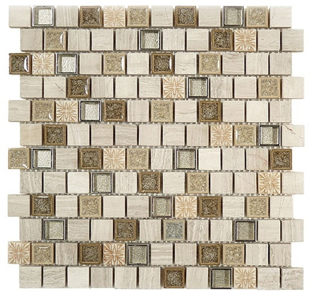 Supplier: Tile Store Online, Name: Tranquil Offset TS-929, Color: Grey Heron, Type: Crackle Jewel Glass & Stone Mosaic Tile, Size: 1X1