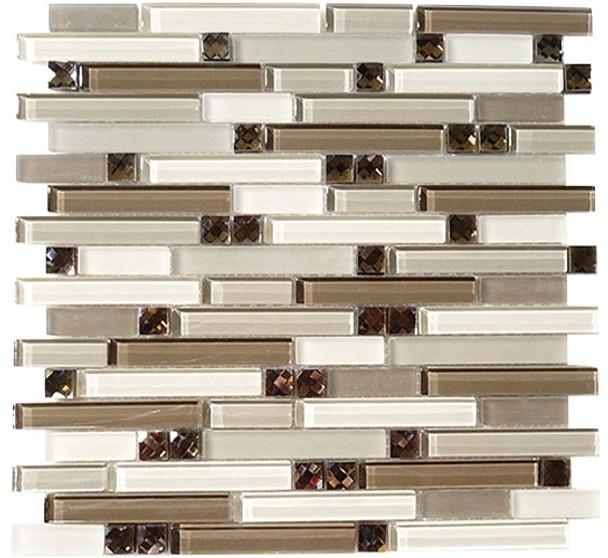Supplier: Tile Store Online, Name: SPS-1509, Color: Calm Grey,Type: 5/8 X Random Brick Linear Glass & Stone Mosaic Tile, Size: 12X12