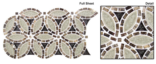 Tranquil Flower - TS-963 Grecian Urn - Crackle Jewel Glass & Natural Stone Mosaic Tile