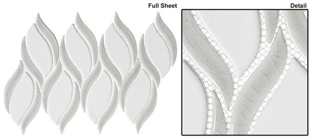 Lumiere - LMR-8515 Aux Champignon - Flame Pattern Crackle & Solid Mix Glaze Porcelain Decorative Mosaic Tile - Sample
