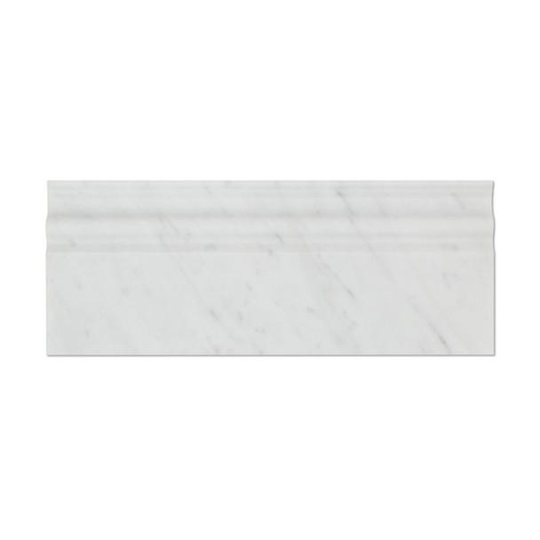 Italian White Carrara Marble - 5 X 12 Baseboard Base Molding - Honed Finish - Sample