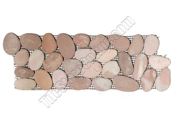 Supplier: Tile Store Online, Type: Pebble Stone Border Liner, Series: Interlocking Pebble Stone Liner Border, Name: Island Rock Collection, Color: Carmel Dark Pink, Category: Natural Stone, Size: Round