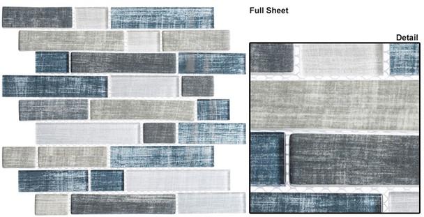 Textile - TXT 6411 Blue Denim - Random Subway Brick Shape Glass Mosaic