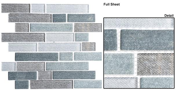 Textile - TXT 6412 Harris Tweed - Random Subway Brick Shape Glass Mosaic