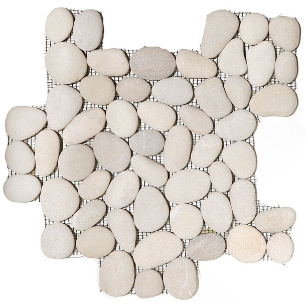 River Rock Pebble Stone Mosaic - Maluku Tan Interlocking Pebble Mosaic