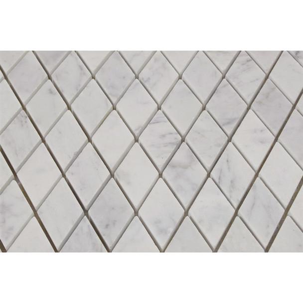 Carrara White Marble - Herringbone Pattern Marble Mosaic Tile - 1 X 2 - POLISHED