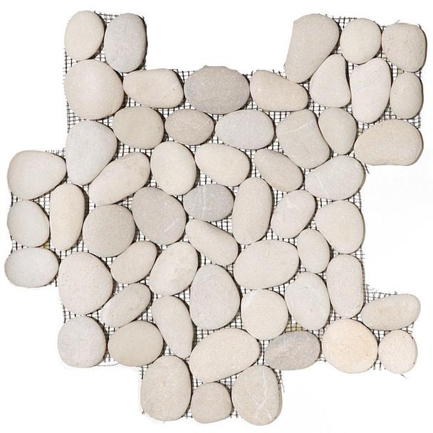 River Rock Pebble Stone Mosaic - Maluku Tan Interlocking Pebble Mosaic * SAMPLE *